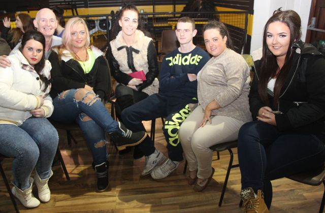 Rosaleen Quilligan, Richard O'Brien, Gemma O'Brien, Natasha McSweeney, Kevin Quilligan, Philomena Quilligan and Natasha Flaherty at the charity fight night in aid of the Miscarriage Association of Ireland at the BTS Fitness gym in Manor Park on Thursday night. Photo by Dermot Crean