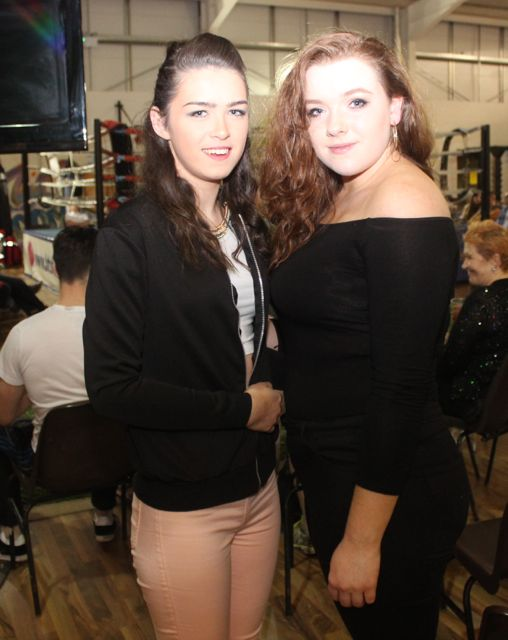 Christine Meaney and Serena Crowley at the charity fight night in aid of the Miscarriage Association of Ireland at the BTS Fitness gym in Manor Park on Thursday night. Photo by Dermot Crean