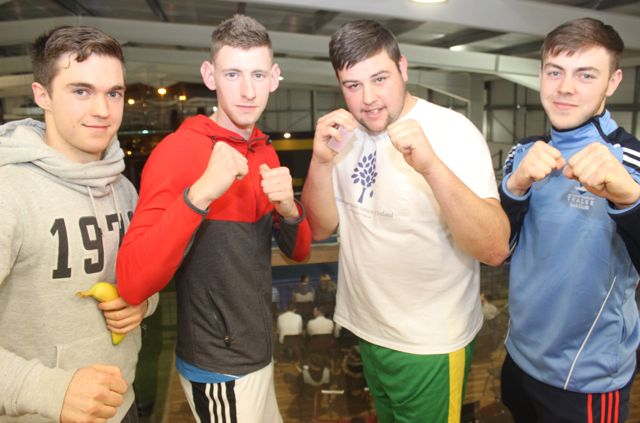 Jack O'Grady, Aaron O'Malley, Peter Murphy and Cathal Kearney at the charity fight night in aid of the Miscarriage Association of Ireland at the BTS Fitness gym in Manor Park on Thursday night. Photo by Dermot Crean