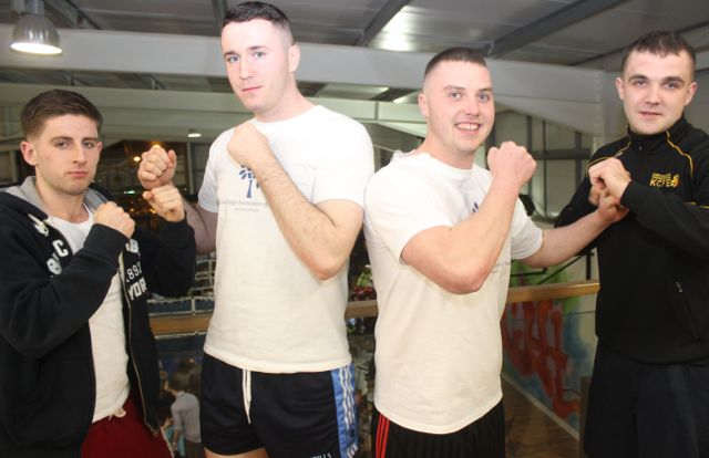 Robert McGovern, Michael Wrenn, Gavin O'Sullivan and Aaron Jones at the charity fight night in aid of the Miscarriage Association of Ireland at the BTS Fitness gym in Manor Park on Thursday night. Photo by Dermot Crean