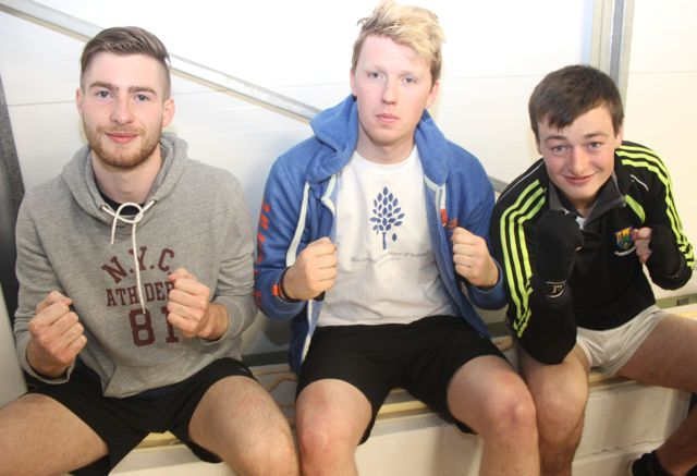 Stephen Cahill, Cormac O'Connor and Eoin O'Mara at the charity fight night in aid of the Miscarriage Association of Ireland at the BTS Fitness gym in Manor Park on Thursday night. Photo by Dermot Crean