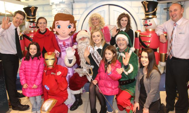 Santa Claus and friends joined by Rose of Tralee, Elysha Brennan and in front, youngsters Shannon Fitzgerlald and Emily Rose McSweeney with (far right) Mary Sugue of CH Chemists. At back; Peter and Anne Harty, Niamh Slattery and Kevin Reardon of CH Chemists, at the launch of Santaland at CH Chemists on Saturday. Photo by Dermot Crean