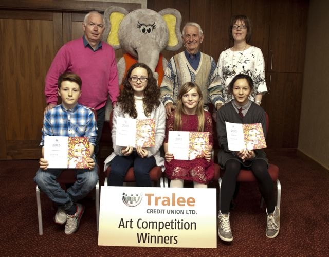 Art Competition Winners: Ron O'Neill St Brendans School Fenit, Danica Kelliher Gael Cholaiste Tralee, Roisin O'Halloran Cronin, St Brendans Fenit and Metta Shrestha, Curraheen School, Glenbeigh. Back Row: From Tralee Credit Union, Fintan Ryan CEO, Ellie The Elephant, Tom Lawlor Chairman and Mary O'Connell Director.