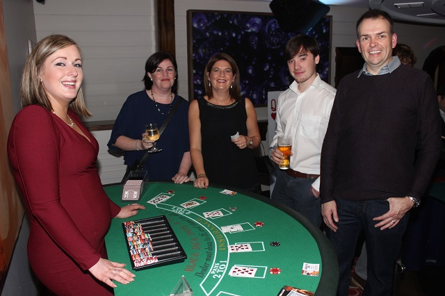 At the Casino Night on in Benners Hotel were, from left. Marie Ryan, Siobhan O'Brien, Marie Gannon, Louis Wells and John Fox. Photo by Gavin O'Connor.