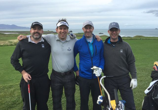 Barry Reidy, Joey McVeigh, Nicky McCudden (all Dublin) & Mike Stack (Tralee) competing in the Churchill GAA Centenary Golf Classic in Tralee Golf Club last Friday. Photo by Alex O'Donnell