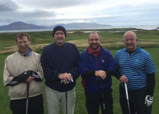 Andy Walsh (Offaly), Pat McCarthy (Kildare), Steve Bibby (London) & Dave Bibby competing in the Churchill GAA Centenary Golf Classic in Tralee Golf Club last Friday. Photo by Alex O'Donnell