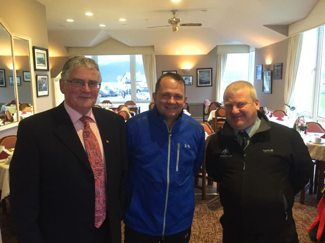 Dermot Crowley (Sec. Churchill GAA), Davy Fitzgerald (Clare) & Mikey Moriarty (Chairman Churchill GAA) pictured at Churchill GAA Centenary Golf Classic in Tralee Golf Club last Friday. Photo by Alex O'Donnell