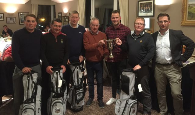 Jed O'Connor (Chairman Churchill GAA Finance Committee) presents cup and awards to winning team in Churchill GAA Centenary Golf Classic in Tralee Golf Club last Friday. Pictured left/right; Ed Stack, James Lavery, Mick McCarthy, Jed O'Connor, Jackie Tyrrell (Special Guest), Greg Ryan & Mike Stack (Tournament Co-ordinator). Photo by Alex O'Donnell