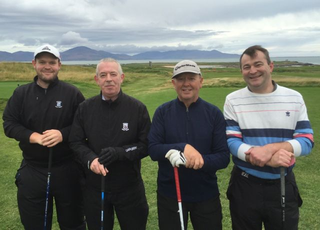 Kevin O'Connor, Jim McGrath, Fergie Kelly & Brendie O'Sullivan pictured at Churchill GAA Centenary Golf Classic in Tralee Golf Club last Friday. Photo by Alex O'Donnell