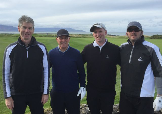 Ger Murphy (Killorglin), Bobby Thompson (Cork), Jim Moore (Dublin) & Ronan Minihan (Cork) competing in the Churchill GAA Centenary Golf Classic in Tralee Golf Club last Friday. Photo by Alex O'Donnell