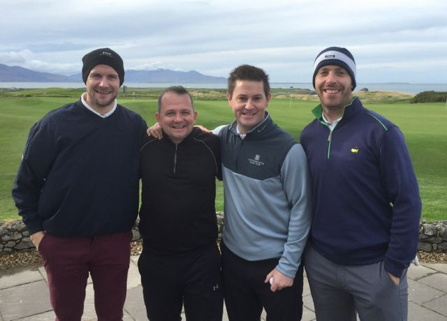 Jackie Tyrrell (Kilkenny), Davy Fitzgerald (Clare), Kieran 'Fraggie' Murphy (Cork) & Ronan Curran (Cork) competing in the Churchill GAA Centenary Golf Classic in Tralee Golf Club last Friday. Photo by Alex O'Donnell