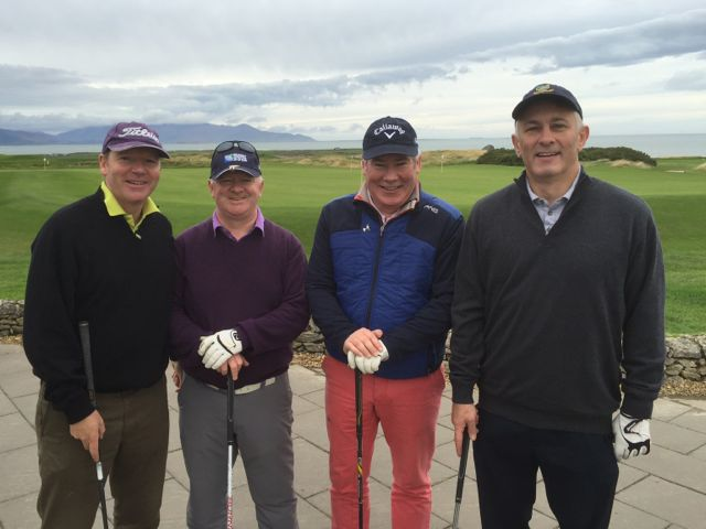 John Gleeson, Dave Gallagher, Harry Murphy & John McNamara (all Dublin) competing in the Churchill GAA Centenary Golf Classic in Tralee Golf Club last Friday. Photo by Alex O'Donnell