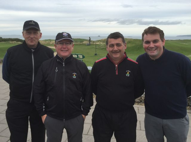 Mick McCarthy, Greg Ryan, James Lavery & Ed Stack (all Ballybunion) competing in the Churchill GAA Centenary Golf Classic in Tralee Golf Club last Friday. Photo by Alex O'Donnell