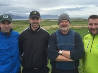 Billy Brick, Shane Brick (Kilmoyley), Bomber Liston (Ballybunion) & Seanie Barry (Cork) competing in the Churchill GAA Centenary Golf Classic in Tralee Golf Club last Friday. Photo by Alex O'Donnell