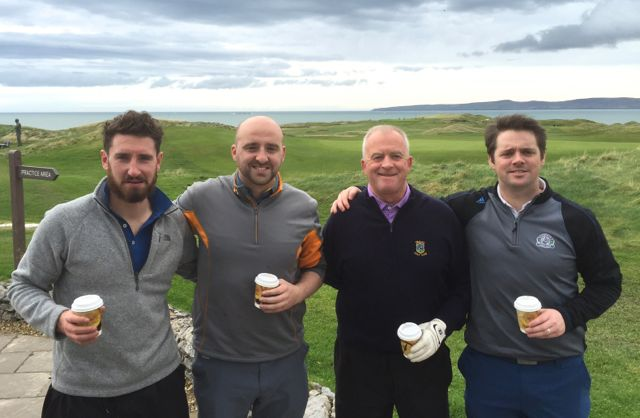 Austin Murphy (Kilkenny), Brian Cooney (Ennis), Brian Durran (Tralee) & Ronan Cooney (Ennis) competing in the Churchill GAA Centenary Golf Classic in Tralee Golf Club last Friday. Photo by Alex O'Donnell