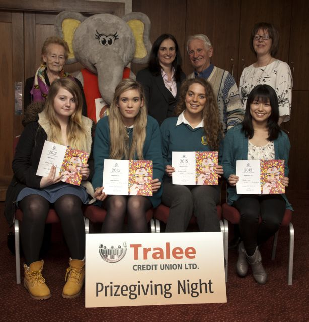 Art Competition Winners: Aoibhin O'Neill, Brookfield College, Elisha Buckley and Roisin Lynch Mercy Mounthawk, Nicole Chun Brookefield College, Tralee. Back Row: Tralee Credit Union, Mary Cotter (Art Judge) Suzanne Ennis, Tom Lawlor (Chairman) and Mary O'Connell, Director.