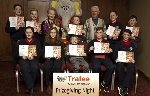 Sophia Neilan, Scoil Lios Teilic, Natalia Szczodrowska Scoil Lios Teilic, Joe Shanahan, Scoil Nuachabhail, Conor Horan and Liam Og Kingston Scoil Lios Teilic, Back Row: Scott Rumgay, Dan Fisher, Scoil Lios Teilic, Mary Cotter (Judge) Fionn Bermingham Holy Family School, Tom Lawlor Chairman and Ruairi O'Connell Scoil Lios Teilic.
