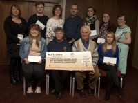 Education and Dan Kellegher Memorial Awards Front Row:  Annie O'Donnell, Ballymac, Margaret Kellegher (Dan Kellegher's daughter) Tom Lawlor TCU, Siobhan Griffin, Beaufort. Back Row: Kathryn Smith, Ardfert, Dylan Ronan,  Ballyrickard, Tralee, Mary O'Connell TCU, Mick Casey, TCU, Karina Quilter, Mounthawk, Tralee, Fiona O'Halloran, Monavalley, Tralee and Marie Murray,  Lyreacrompane.