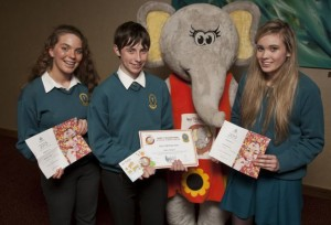 Mercy Mounthawk students attending Tralee Credit Union's Prizegiving Night with Ellie The Elephant, Roisin Lynch, Cillian O'Regan and Elisha Buckley.