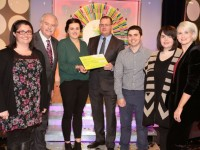 Grainne Galway from Ballyheigue, Co. Kerry has won €45,000 including a car on last Saturdays (28th November 2015)) National Lottery Winning Streak game show on RTE.  Pictured here at the presentation of the winning cheques were from left to right: Fiona Moriarty, the National Lottery ticket selling agent, Centra, Ballyheigue, Tralee, Co. Kerry; Marty Whelan, Winning Streak game show co-host; Grainne Galway, the winning player; Niall Andrews, Head of Sales at the National Lottery who made the presentation; Joseph Moriarty, the National Lottery ticket selling agent, Centra, Ballyheigue, Tralee, Co. Kerry; Mairead Moriarty, the National Lottery ticket selling agent, Centra, Ballyheigue, Tralee, Co. Kerry and Sinead Kennedy Winning Streak game show co-host. Pic: Mac Innes Photography