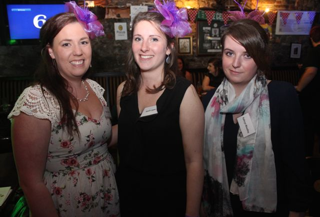 Natalie Latreille, Axelle Lepee and Kathryn Woodley at the ITT Travel and Adventure Tourism Management students' charity race night at The Greyhound Bar on Tuesday night. Photo by Dermot Crean