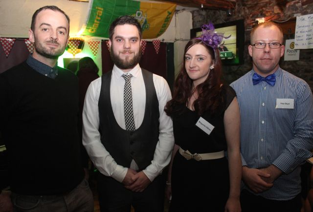 ITT lecturer in Event Management Fergus Dunne with Robert Mulvanney, Marguerite O'Brien and Peter Beyer at the ITT Travel and Adventure Tourism Management students' charity race night at The Greyhound Bar on Tuesday night. Photo by Dermot Crean