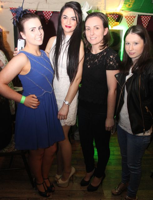 Katie Guiney, Edona Neziri, Noreen Guiney and Noreen Kissane at the ITT Travel and Adventure Tourism Management students' charity race night at The Greyhound Bar on Tuesday night. Photo by Dermot Crean