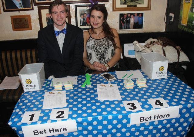 Mark Purcell and Jaclyn Erer at the ITT Travel and Adventure Tourism Management students' charity race night at The Greyhound Bar on Tuesday night. Photo by Dermot Crean