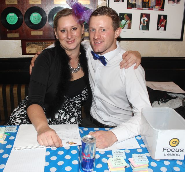 Kasia Tryjankowska and Graham Doyle at the ITT Travel and Adventure Tourism Management students' charity race night at The Greyhound Bar on Tuesday night. Photo by Dermot Crean