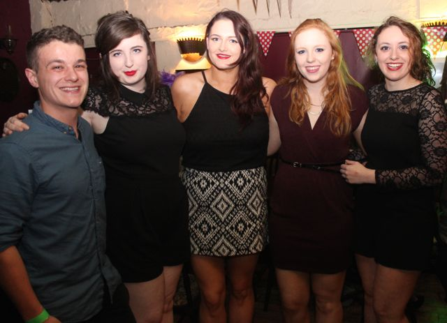 Alex Nowotynsky, Laura Vernon, Aoibhinn Lyons, Amanda O'Sullivan and Rosie Somers at the ITT Travel and Adventure Tourism Management students' charity race night at The Greyhound Bar on Tuesday night. Photo by Dermot Crean