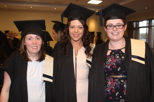 Joanne O'Regan, Castleisland, Vanessa Molloy, Rock Street, and Breda Ahern, Ballylongford, all Veterinary Assistant graduates at the Kerry College of Further Education graduation ceremony at the Fels Point Hotel on Friday. Photo by Dermot Crean