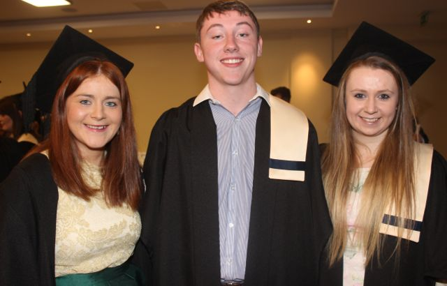 Triona Brassil, Kilmoyley, Marcus Cronin, Gneeveguilla, and Kerryanne Shortland, Lixnaw, all Nursing graduates, at the Kerry College of Further Education graduation ceremony at the Fels Point Hotel on Friday. Photo by Dermot Crean