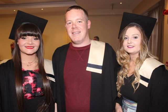 Louise Hobbert, Causeway, Faolán Devane, Killarney, and Sorcha Dinees, Causeway, all Nursing graduates at the Kerry College of Further Education graduation ceremony at the Fels Point Hotel on Friday. Photo by Dermot Crean