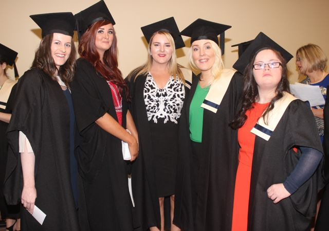 Deborah Nash, Brosna, Stacey Boyle, Ballyheigue, Rachel Boyle, Ballyheigue, Melissa O'Callaghan, Cordal and Jane Cotter, Castleisland, all Office Administration graduates at the Kerry College of Further Education graduation ceremony at the Fels Point Hotel on Friday. Photo by Dermot Crean