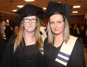 Anna Teahan, Milltown (Special Needs Assistant Level 6) and Stephanie Shine, Killarney (Childcare Level 6) at the Kerry College of Further Education graduation ceremony at the Fels Point Hotel on Friday. Photo by Dermot Crean