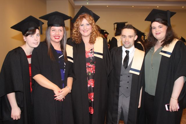 Nora Begley, Joanne Healy, Sharon O'Sullivan, Simon Bowes and Aine Moriarty, all Childcare, at the Kerry College of Further Education graduation ceremony at the Fels Point Hotel on Friday. Photo by Dermot Crean