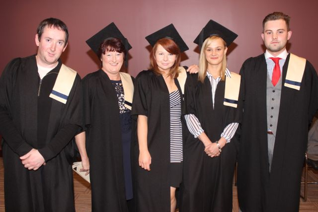 Mike Harrington, Tralee (Schoolage Childcare), Trisha O'Connor, Farranfore (Schoolage Childcare), Rachel Murphy, Tralee (Business Management Studies), Anna Kowalik (Business Management Studies), Gavin O'Brien (Business Studies) at the Kerry College of Further Education graduation ceremony at the Fels Point Hotel on Friday. Photo by Dermot Crean