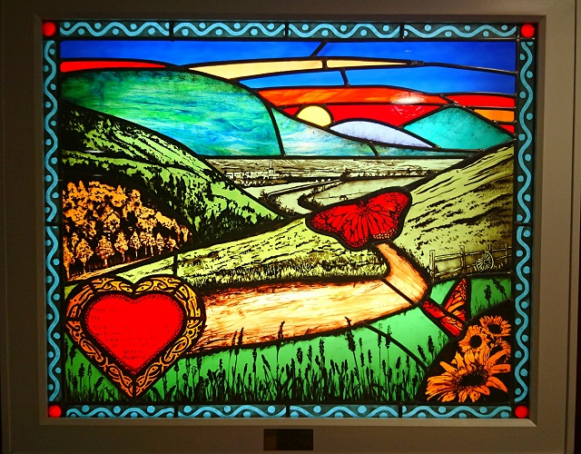 The stained glass in Kerry General Hospital, created by Mary J. Leen.