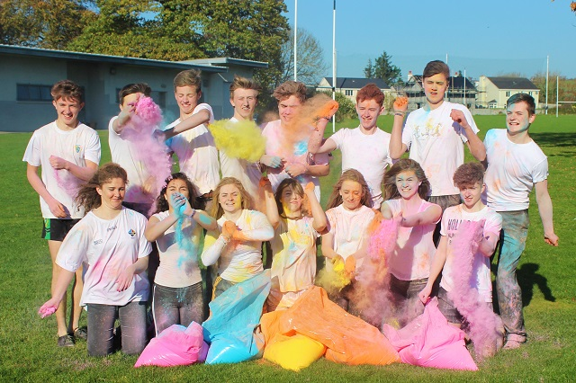 Mercy Mounthawk students launching the schools '5k Colour Run' Photo by Gavin O'Connor.