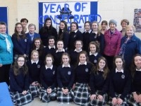 Presentation transition year group with Sr. Elizabeth McMahon, Sr. Grace Foley and Sr. Maureen Guerin with Principal Mary O'Keeffe and R.E. teachers Norma Foley and Sheila O'Connell.