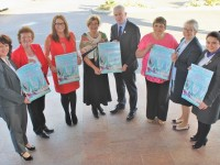 At the launch of the Recovery Haven 'Recover Your Sparkle' night on in The Fels Point Hotel were, from left: Michelle King, Philomena Stack, Christine Boyle, Maureen O'Brien, Mark Sullivan, Tina Cunningham and Eileen Commerford. Photo by Gavin O'Connor.