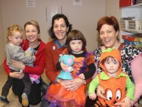 Una and Padraig Flaherty, Hilda and Orna Nolan and Claire and Hannah Dempsey at the Halloween Storytelling morning at St Vincent de Paul on Saturday. Photo by Dermot Crean