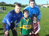 William and Katie Higgins with Barry John Keane and David Moran at the presentation of medals at Healy Park in Ballyrickard on Saturday morning. Photo by Dermot Crean