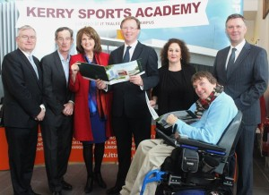 Looking at the plans for the Kerry Sports Academy were, from left: Dr. Oliver Murphy, President of the IT, Tralee, Dick Spring (Chairperson), Tanaiste Joan Burton, Deputy Arthur J Spring, Brid Mc Elligott, Head Of Development IT, Cllr Terry O'Brien and Cllr Graham Spring. Photo by Gavin O'Connor.