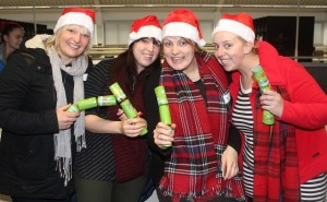 At the IT Tralee, Christmas Cracker world record breaking attempt in the North Campus were, from left: Machelle Walsh, Danielle Berry, Eileen Galvin, Katie O'Flaherty. Photo by Gavin O'Connor.