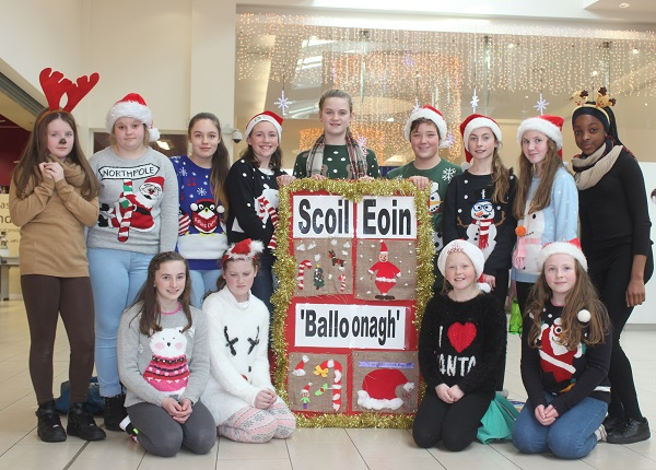 Scoil Eoin sixth class pupils who were Christmas caroling in Manor West on Wednesday afternoon. Photo by Gavin O'Connor.