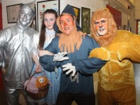 The Tin Man (Michael Lynch), Dorothy (Janna Litchfield), Scarecrow (John Drummey) and Lion (Alan Teahan) before the opening performance of The Wizard Of Oz pantomime at Siamsa Tíre on Tuesday. Photo by Dermot Crean