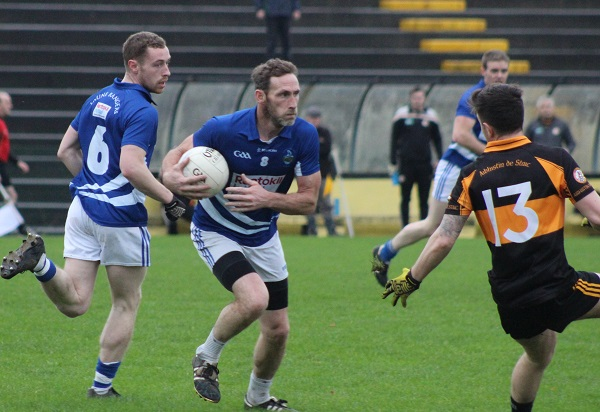 Laune Rangers and ex-Kerry, John Sheehan, gets on the ball. Photo by Gavin O'Connor.
