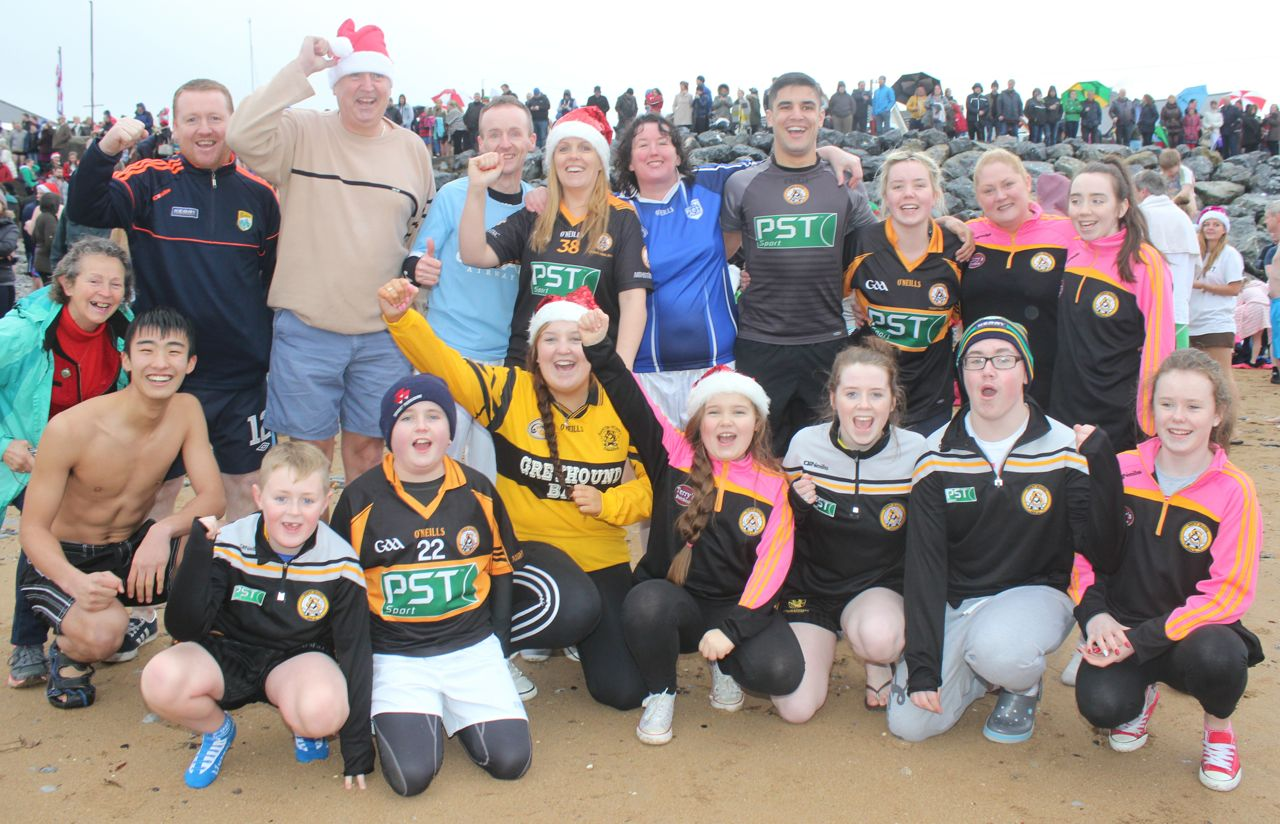 A large group of Rockies (and the token Narie) at the Christmas Day swim in Fenit. Photo by Dermot Crean