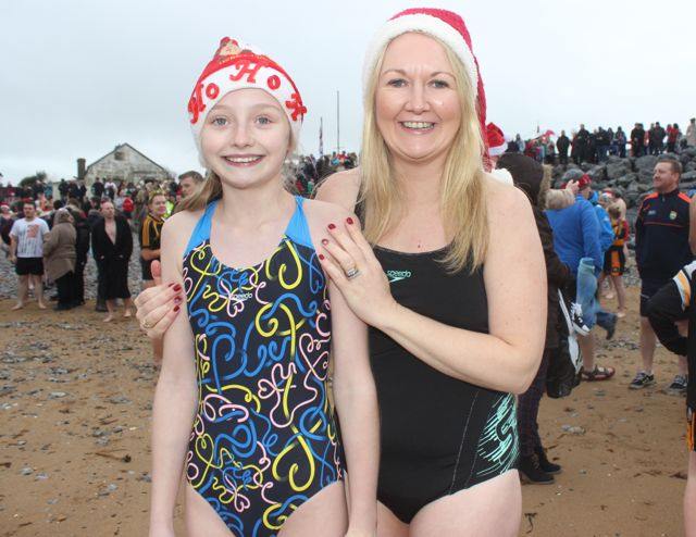 Katie and Carmel Ross at the Christmas Day swim in Fenit. Photo by Dermot Crean